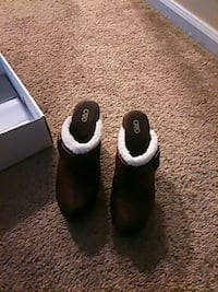 brown and white leather clogs Columbus, 43224