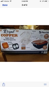 Royal Cooper non-stick 5 piece set 2 frying one deep sides for deep frying & a basket included a lid and cook bookalso includes regular 14 inch non-stick pan a fry basket and lid 60.00 or BO Lodi, 07644