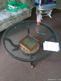 round black wooden framed glass top coffee table Frederick