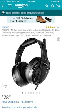 NUBWO N15 Surround Sound Stereo Gaming Headset  Gaithersburg, 20878