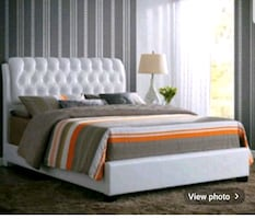 King White tufted bed with dresser and chest