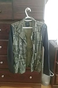 Woman's Forever 21 spiked camo and leather jacket New Westminster, V3M 4J5