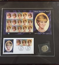 Princess Diana, uncut, first day of issue, stamped, $5 coin framed and matted.  Severn, L0K