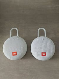 Two white and red JBL portable speakers Cambridge