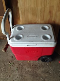 white and red Coleman chest cooler