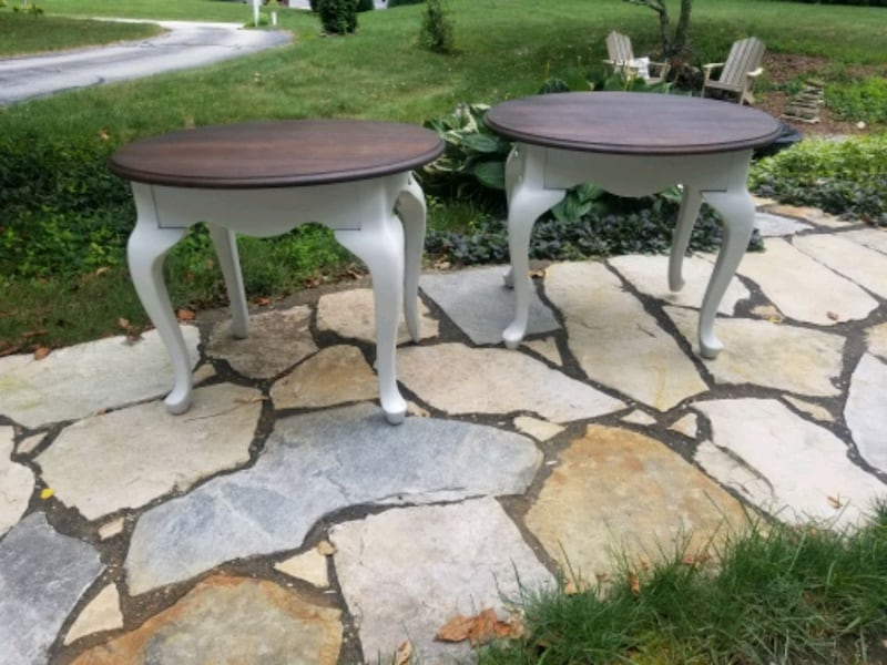 Rustic refinished side tables. 1501bdeb-1820-4ef0-b65b-87cdfdbb6b8e