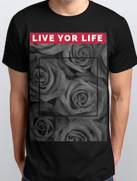 schwarzes, graues und rotes Live for Life bedrucktes T-Shirt 6791 km
