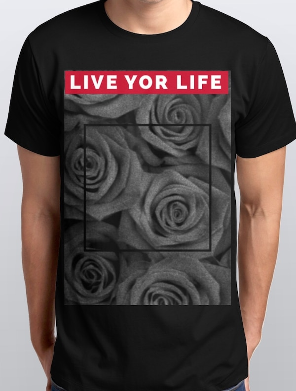 schwarzes, graues und rotes Live for Life bedrucktes T-Shirt