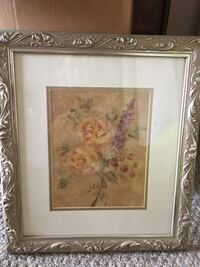 Beige, red, and green flower painting