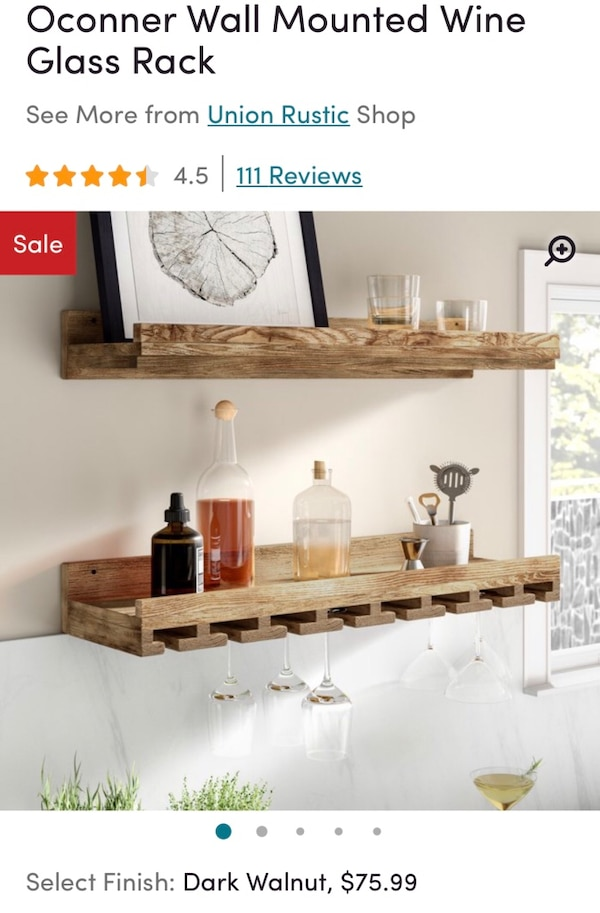 """2 New Rustic wine shelves approximately 26"""" 90f16c16-8bd5-4937-a585-8e7c7567f7ac"""