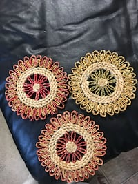 3 hand made color wicker trivettes. Chantilly