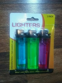 three assorted-color disposable lighters with pack Tulsa, 74115