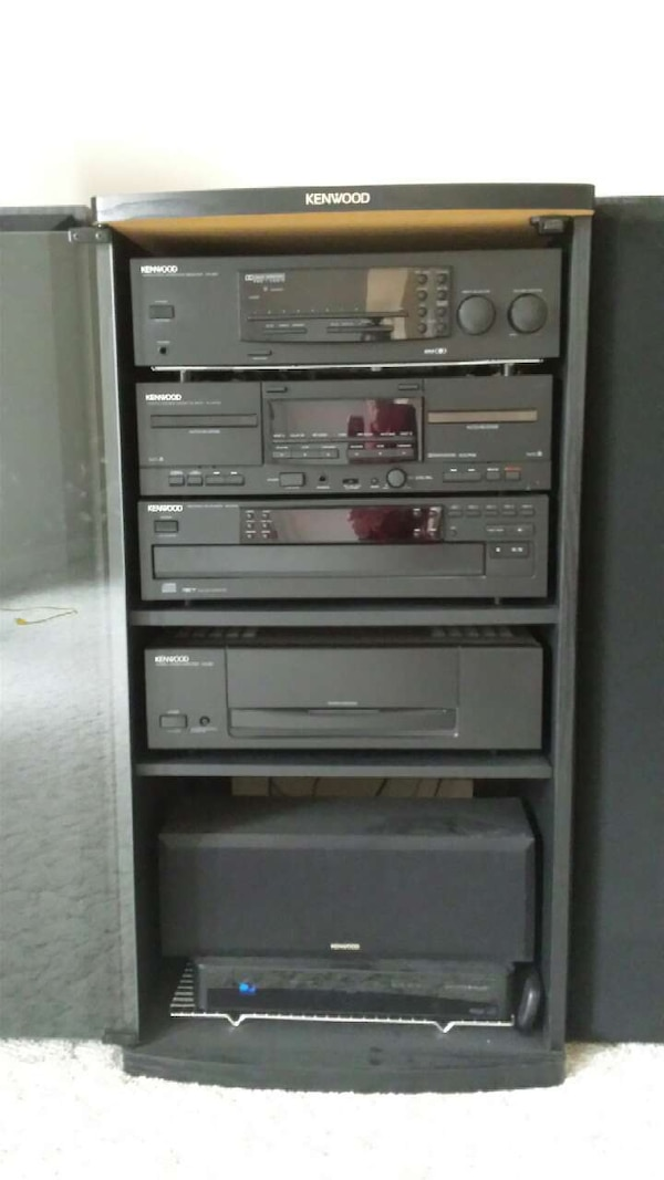 Used Kenwood Black Glass Door Stereo Cabinet For Sale In Daleville