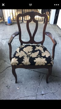 Brown wooden framed white and black floral padded armchair 2 for $10 Burbank, 91506