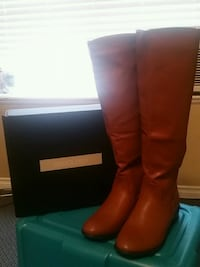 pair of brown leather knee-high boots Surrey
