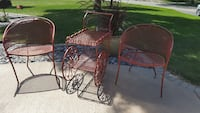 Vintage wrought iron wine / tea cart with chairs