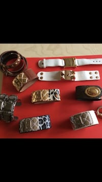 assorted leather bracelets