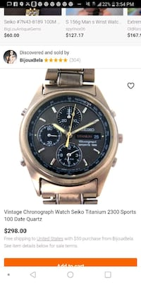 round silver chronograph watch with silver link bracelet screenshot Tulsa, 74110