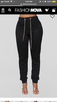 Fashion Nova Chain Gang Jogger - Black Pants