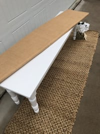 Solid wood white farmhouse bench with removable cushion