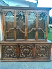 brown wooden framed glass cabinet North Richland Hills, 76180