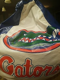 white, green, and blue Gators leather bean bag