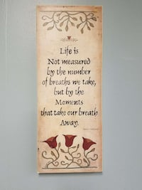 Life is not measured by the number quote wall mounted floral illustration Oshkosh, 54902