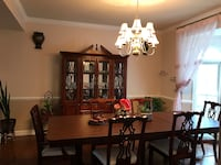 rectangular brown wooden table with six chairs dining set Centreville, 20120