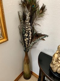 Tall metal vase with Peacock feathers Norman, 73071