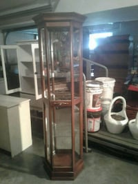 brown wooden framed glass display cabinet Hagerstown