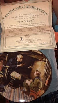 The veteran decorative plate with certificate of authenticity paper Milwaukee, 53215