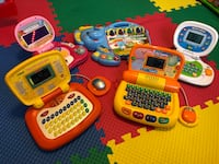 Toddler's five assorted color learning laptops