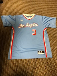 blue, red, and white Los Angeles Clippers number 3 Chris Paul jersey
