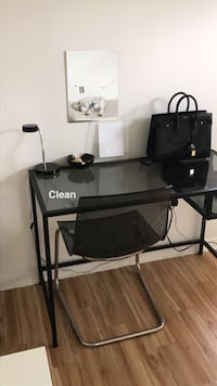 used modern glass desk with ikea ghost chair for sale in cary letgo. Black Bedroom Furniture Sets. Home Design Ideas