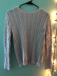 gray and white striped long-sleeved shirt Moseley