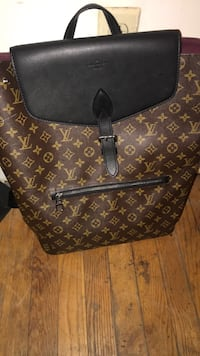 brown and black Louis Vuitton monogram canvas leather backpack