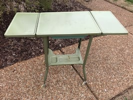 RARE find—VINTAGE sea foam green metal typewriter table,sea foam green