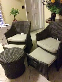 two brown wooden framed padded armchairs Sanger, 93657