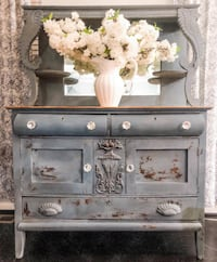 gray and brown wooden dresser with mirror 67 km