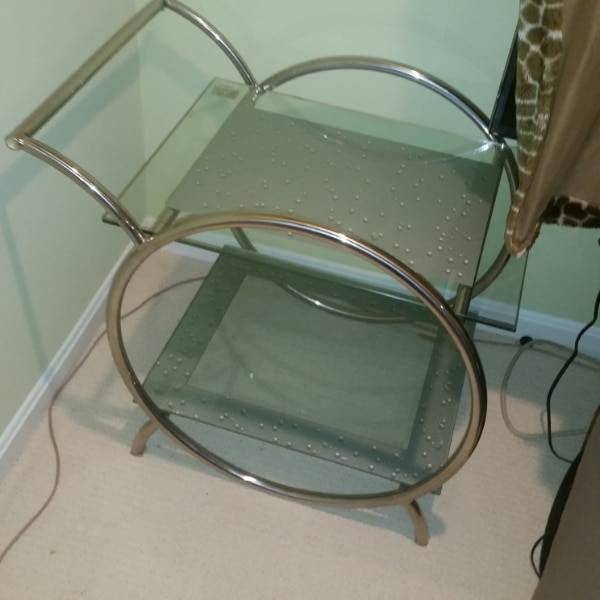 $75 - Glass Table - Side Bar Table b88f7461-a715-4b81-98b3-de275b2f91cb