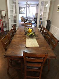 rectangular brown wooden table with chairs dining set New York, 10032
