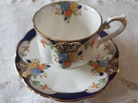 Elaborate Floral 1927 to 1935 Royal Albert Crown China Tea Cup & Saucer For Sale! Ottawa