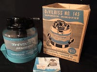 black and blue DeVilbiss No. 145 vaporizer - humidifier with box & insruction manual