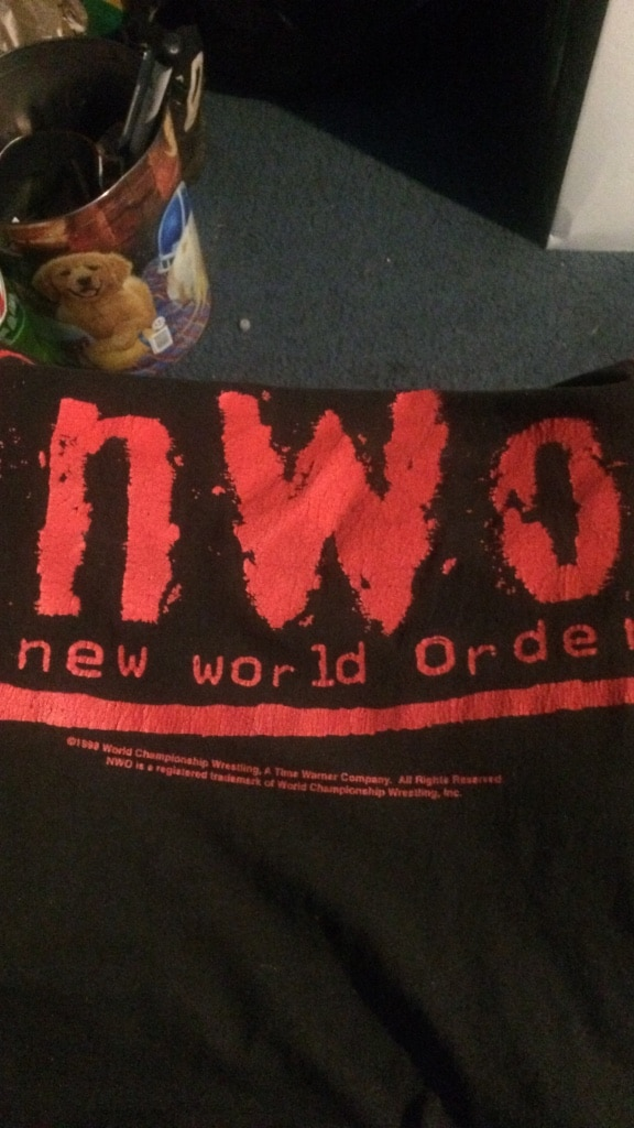 Photo Black and red new world order textile