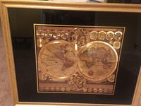 World Map By Peter Schenk The Elder.Used Gold Map World Map By Peter Schenk With Gold Frame For Sale In