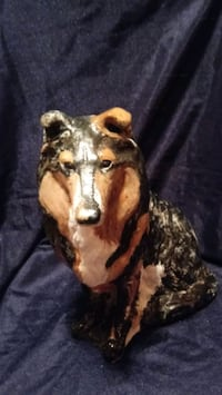 Hand-painted concrete Collie statue