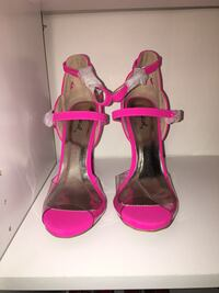 Pair of neon pink and clear toe heels Brockton, 02301