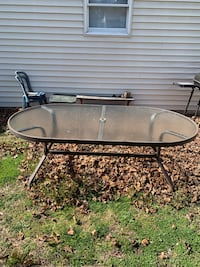 Outside glass top table