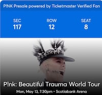 2 Pink tickets 100 level; May 13 at scotiabank arena  Toronto, M8Y 0A1