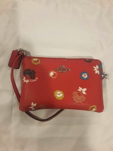 red leather with floral print wrislet